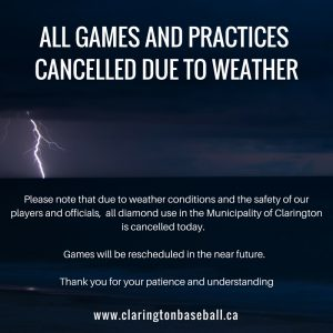 ALL FIELDS CLOSED DUE TO WEATHER, June 18, 2018