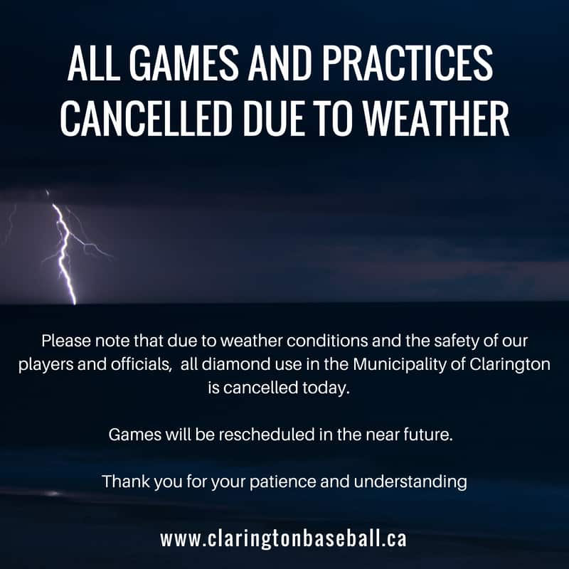 ALL FIELDS ARE CLOSED TONIGHT, June 13th, 2019