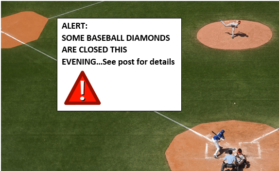DIAMOND CLOSURES – May 23rd (see message)